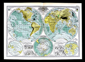 Details about 1902 Century Map Physical World in Hemispheres South Pole  Antarctica Mountains