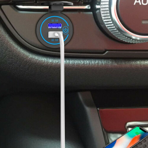 Car Motorcycle Touch Switch QC3.0 Dual USB Charger Socket Aperture Fast Charging