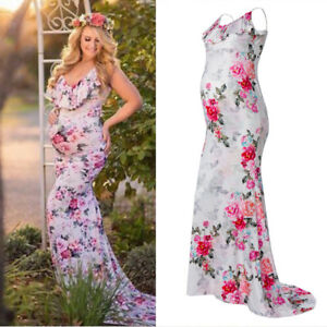 52e6e6e9f4 Ruffle Floral Maternity Dress Long Gown Baby Shower Pregnant Photo ...