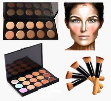 Corrector Paletas 10 &15 Colores con cepillo Crema Facial Contorno Maquillaje