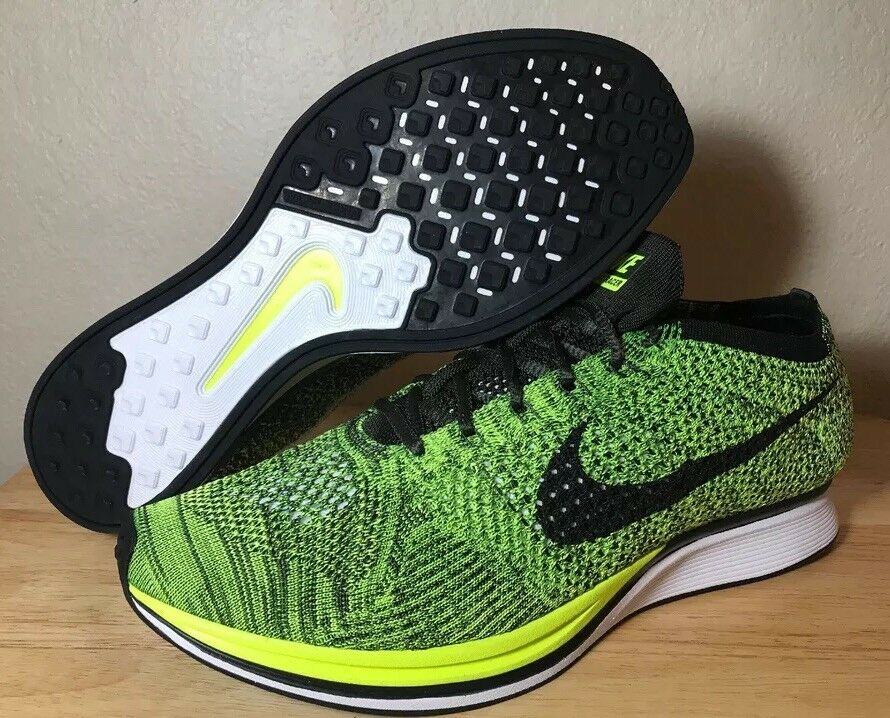 Nike Flyknit Racer Size 11.5 Volt Green Black Men's Running shoes New 526628-731