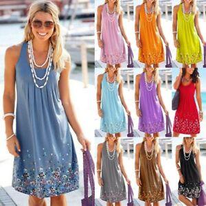 Women-039-s-Boho-Summer-Beach-Dresses-Evening-Party-Mini-Maxi-Ladies-Sundress-Dress