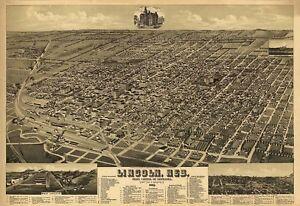 Map-Aerial-Birds-Eye-Lincoln-Nebraska-1889-Canvas-Art-Print