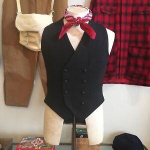 Vintage-Black-Wool-Cinch-Back-Waistcoat-Jacket-S-Dexys-Kevin-Rowland-Memorabilia