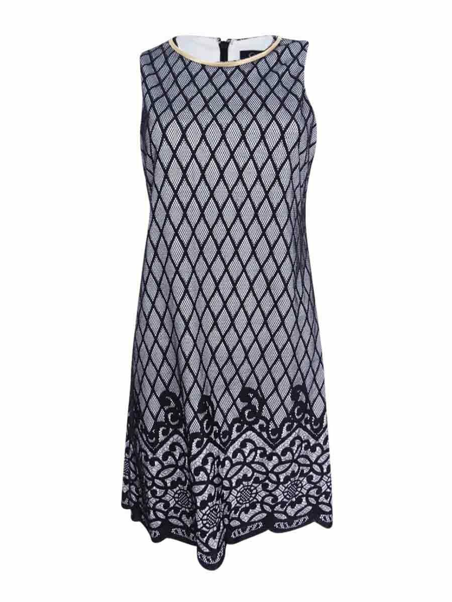 Jessica Simpson Women's  Two-Tone Lace-Print Shift Dress