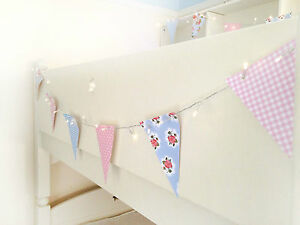 Led fairy lights bunting garland 40 leds 13 flags for Shabby chic garland lights