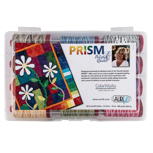 356 yard Spools Aurifil Prism by Pieceful Quilter Thread Kit 12wt 12 Large
