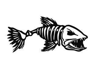 Zombie Fish Bones Scary Vinyl Decal Sticker Window Glass