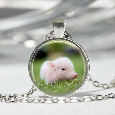 Baby Piglet Pig Pendant Necklace or Keyring Glass Pig Art Print Jewelry Charm