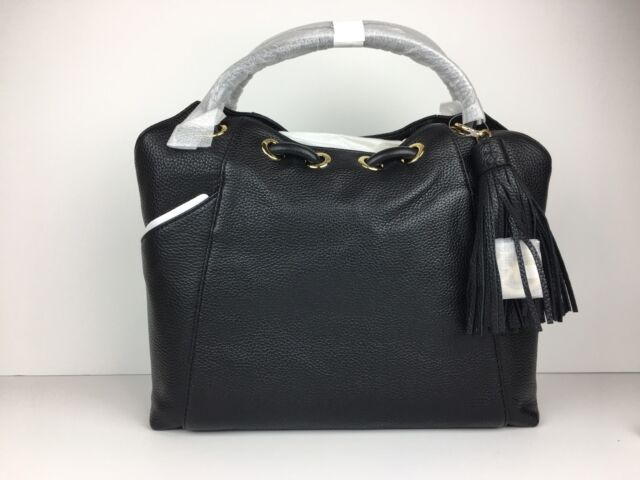 5c3ae080fd92 Michael Kors EW Leather Ring Tote Shoulder Bag Hobo Purse Black for ...