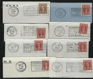 CANADA-232-233-KING-GEORGE-VI-MUFTI-ISSUE-ON-PIECE-WITH-SLOGAN-CANCELS-LOT