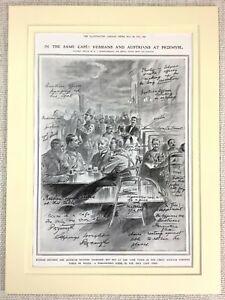 1915 WW1 Print Galicia Poland Russian Soldiers Austrian Officer War Przemysl