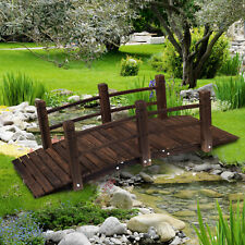 Outsunny 11ft Wooden Garden Bridge Lawn Décor Arc Stained Finish