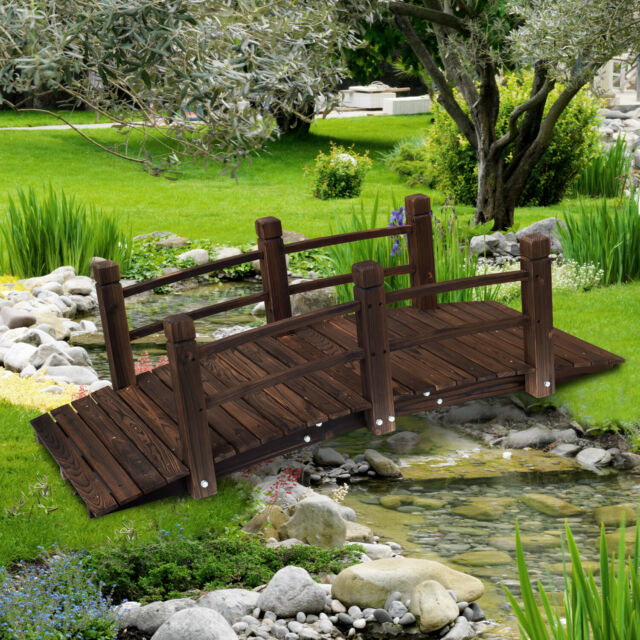 Outsunny 5ft Wooden Garden Bridge Lawn Décor Arc Stained Finish Walkway For Sale Online Ebay
