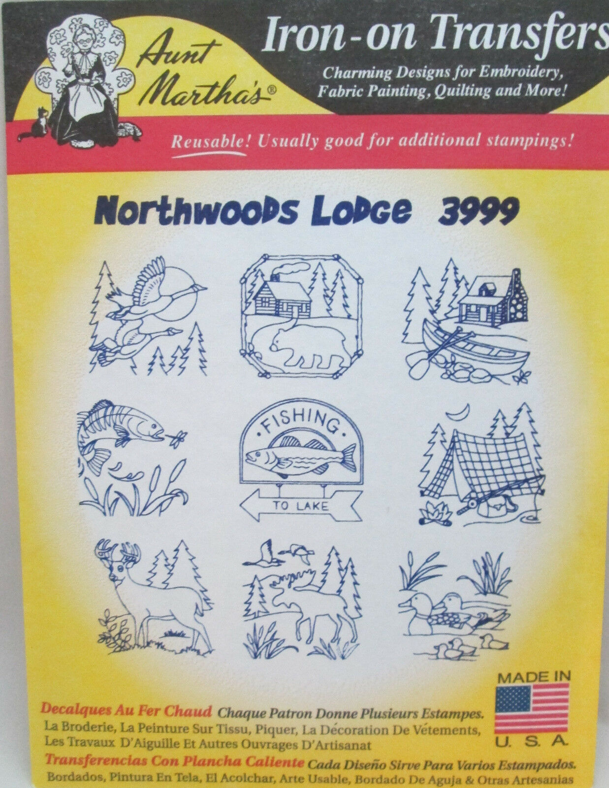Overig Creatieve hobby's Northwoods Lodge Aunt Martha's Hot Iron Embroidery Transfer #3999