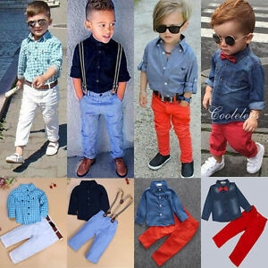 42ec5890050c0 2pcs Toddler Kids Baby Boy Clothes Shirt Tops+Denim Jeans Pants ...