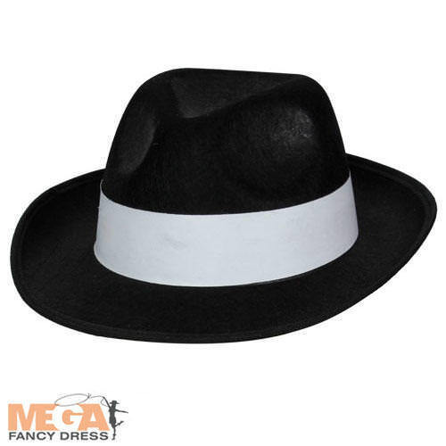 Black Gangster Hat 1920s Fancy Dress Costume 20s Outfit Mens Adult Accessory