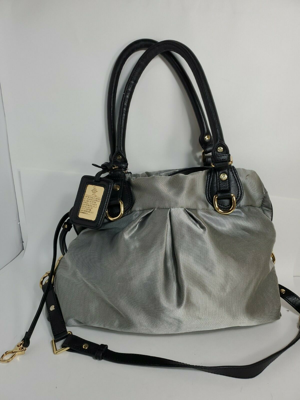 Jpk Paris 75 handbag Textile Silver Hobo Crossbody/ Shoulder Bag 15x13.5x3