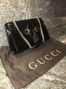 Image is loading 100-Authentic-Gucci-Emily-Guccissima-Chain-Black-Shoulder-