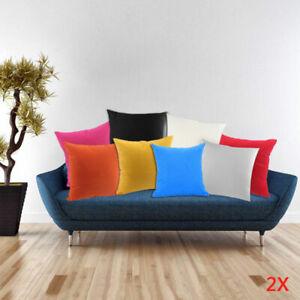 2-Plain-Cushion-Cover-Pillow-Bed-100-Percale-Cotton-Sofa-Case-Home-Decor