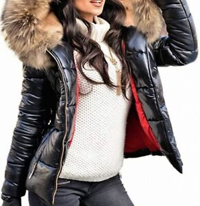 Aofur Womens Faux-Fur Full-Zip Shiny Black Size Small S Puffer Jacket $69 732