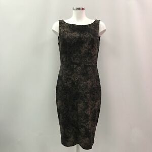 MAX-MARA-Black-Brown-Printed-Sleeveless-Zip-Up-Formal-Dress-Women-UK-14-512124