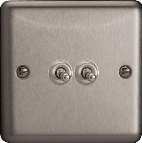 Varilight Classique 2 Gang 10 A 1 ou 2 Way Toggle interrupteur de lumière-Matt Chrome