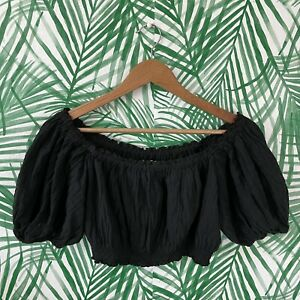 Urban Outfitters Kimchi Blue Puff Sleeve Elastic Black Crop Top Women's Size XS
