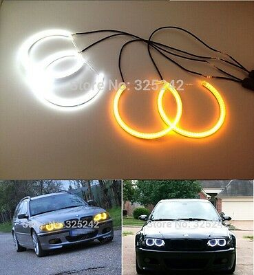 Ultrabright Dual Color LED Angel Eyes Halo Rings Kit For BMW E36 318/320/323/325