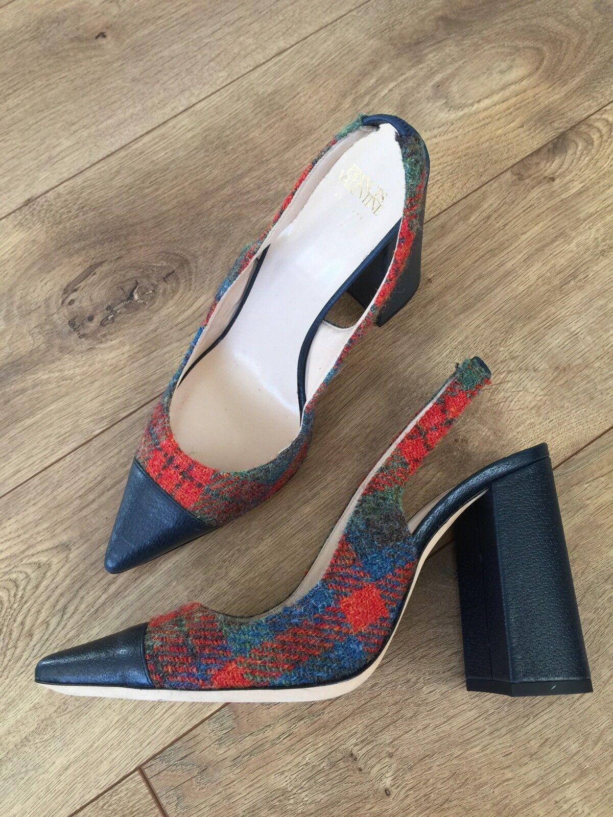 New Frances Valentine Sandy Slingback Wool Leather Pump Heels Multi 8  465 RARE!