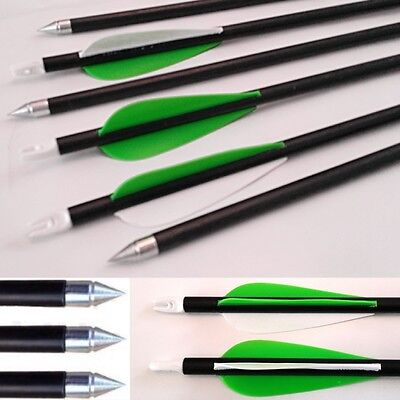 12 or 6 Archery Arrows carbon fibreglass with steel tip compound or Recurve Bow