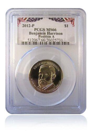 PCGS MS66 2012-P Benjamin Harrison Presidential Dollar POS A Bunting Insert Gem