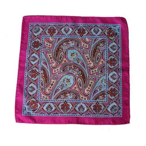 Classic Mens Silk Handkerchief Rose Paisley Floral Wedding Pocket Square Hanky