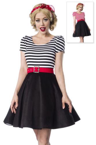 Jersey Kleid Retrokleid mit Tellerrock Rockabilly gestreift Rundhals 50er Jahre
