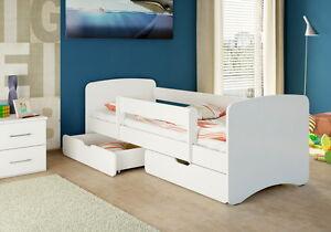 nicenico Kinderbett Jugendbett + 2 Bettkästen + Matratze 180/90 WEIß