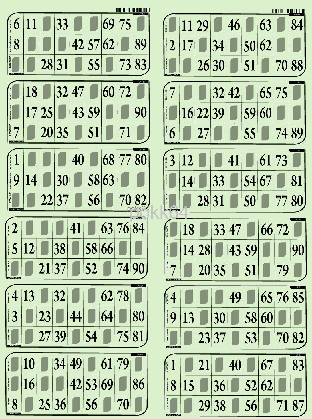 1000 Cartons Loto RIGIDE 1 mm en 83 PLAQUES DE 12 grilles toutes différentes