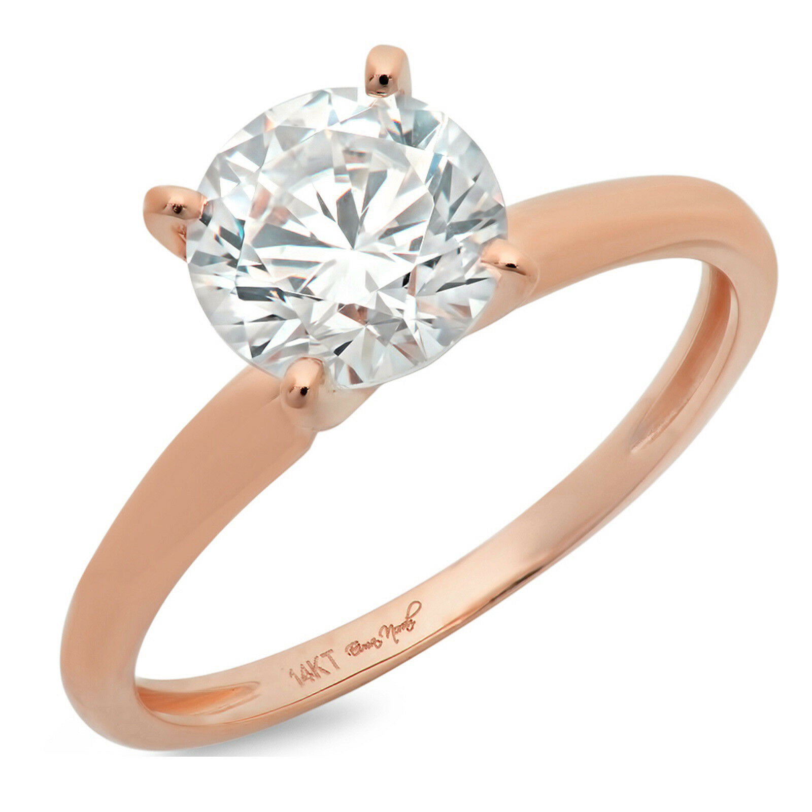2.1ct Round Anniversary Engagement Bridal 4-prong Solitaire Ring 14k pink gold