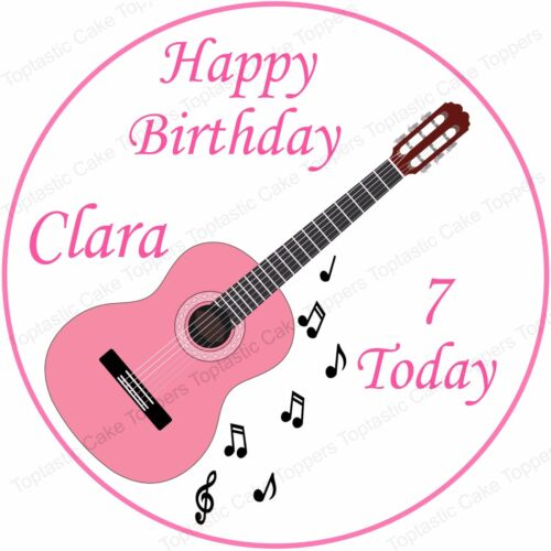 Personalised Pink Acoustic Guitar Music Edible Icing Birthday Party Cake Topper