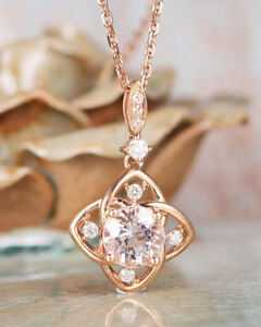 83466561fda42 Details about 14k Rose Gold plated 1.25cts Morganite Pendant Necklace  Floral Shaped Round Cut