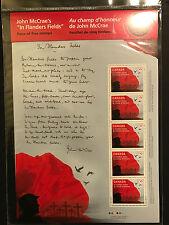 John McCrae In Flanders Fields Poem - Canada Sheet of 5 Stamps Sealed Mint MNH