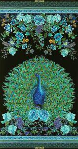 Pre-cut-Fabric-Panel-Timeless-Treasures-Enchanted-Plume-Peacock-CM3549-Black