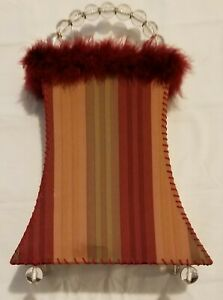 Maroon bedroom lamp deco nightlight purse stand dresser night works 13.5 x 9