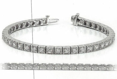 10.2 carat Antique Deco Diamond Tennis 18k gold Bracelet 34 x 0.30 ct GIA E-F VS