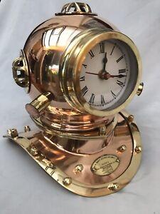 Diving Divers Helmet Nautical Hampton Clock  Solid Polished Copper Brass Finish