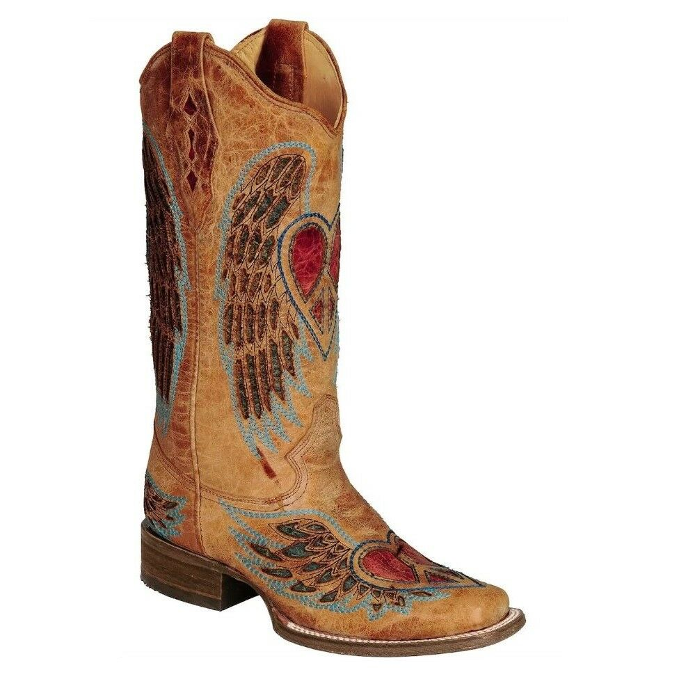 Corral Ladies Saddle bluee Jean Wing and Heart Boot A1990