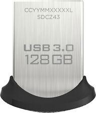 SanDisk - Ultra Fit 128GB USB 3.0 Type A Flash Drive - Black/Silver