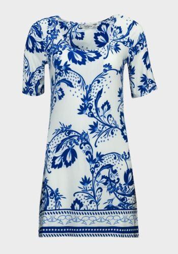 TOUT SIMPLEMENT femmes à manches courtes Bleu /& Blanc Floral Tunique Robe 10 12 14 16 18 20