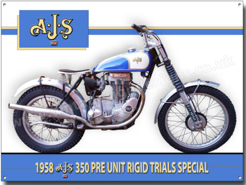 AJS 350CC PRE UNIT RIGID TRIALS MOTORCYCLE METAL SIGN.(A3) SIZE.1958 SPECIAL