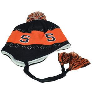 NCAA-Syracuse-Orange-Pom-Pom-Flap-Jack-Tassel-Knit-Beanie-Ear-Flap-Peruvian