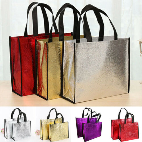 Large Foldable Laser Shopping Bag Reusable Eco Tote Fabric Non-woven Gifts Bag